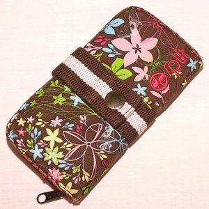Split brown flowers checkbook wallet